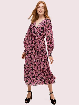 Kate Spade Floral Chiffon Midi Dress