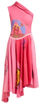 Marine Serre Patchwork One-shoulder Cotton-jersey Dress - Pink