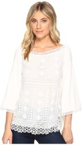 Hale Bob New Frontiers Mix Media Lace Jersey Top Women's Clothing