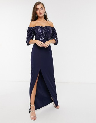 Virgos Lounge off-shoulder embellished drape maxi dress with thigh slit in navy