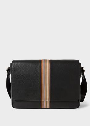 Paul Smith Men's Black Leather Signature Stripe Messenger Bag
