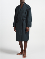 John Lewis Tile Print Cotton Robe, Green/navy