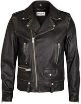 Saint Laurent Black Distressed Leather Jacket