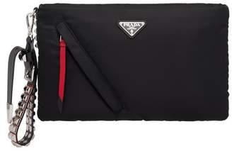 Prada Black Nylon Clutch With Leather And Studs
