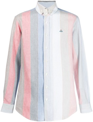 Vivienne Westwood Orb embroidery striped shirt