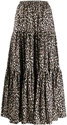 La DoubleJ Full Leopard Print Skirt