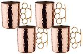 Old Dutch 20 oz. Hammered Solid Copper Brass Knuckle Moscow Mule Mug (Set of 4)