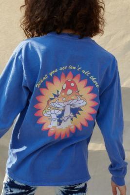Urban Outfitters Long Sleeve Mushroom Print Skate T-Shirt - Blue XS at