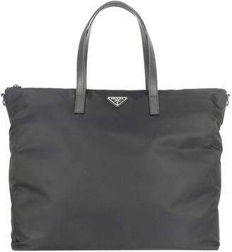 Prada Logo Plaque Tote Bag