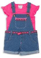 Little Lass Little Girl's Two-Piece Ruffle Top & Shortalls Set