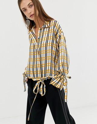 ASOS check tie blouse