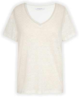Gerard Darel Judit - Linen T-shirt With Plumetis Polka Dots