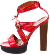 Lanvin Patent Leather Ankle Strap Sandals