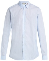Gucci Snake-collar Pinstriped Button-cuff Shirt