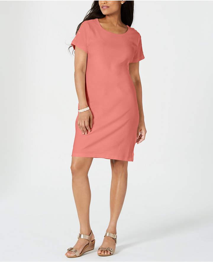 Karen Scott Plus Size Cotton Button-Trim Dress