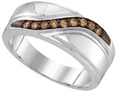 Diamond & CO Sterling Silver Mens Round Cognac- Colored Diamond Band Wedding Anniversary Ring 1/4 Cttw