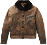 Rrl - Billings Shearling-trimmed Distressed Leather Jacket