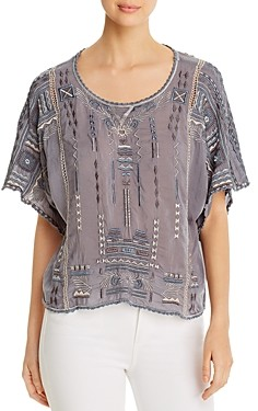 Johnny Was Jurnee Embroidered Geo Pattern Top