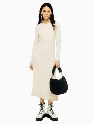 Topshop Contrast Stitch Rib Midi Dress - Ecru