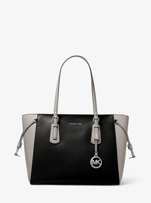 MICHAEL Michael Kors Voyager Medium Two-Tone Crossgrain Leather Tote Bag