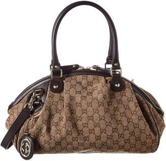 Gucci Brown Gg Canvas & Leather Sukey Boston Bag