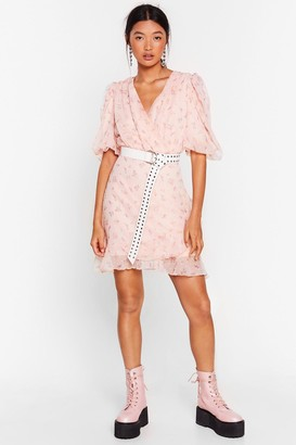 Nasty Gal Womens Bud Floral Mini Dress in Chiffon with Ruched Detailing - Baby Pink