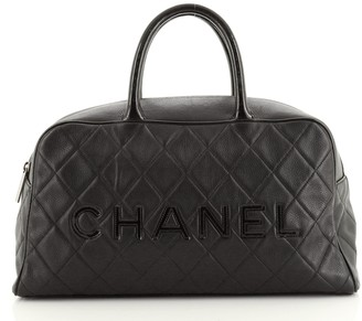 Chanel Embossed Logo Bowler Bag Quilted Leather Medium