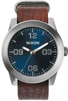 Nixon Rugged Horween Leather Corporal with Blue Sunray Dial