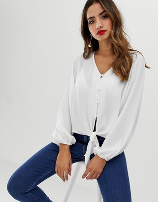 Asos Design DESIGN long sleeve button front top with tie detail-White