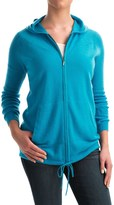 Forte Cashmere Ribbed Sleeve Cashmere Hoodie - Full Zip (For Women)
