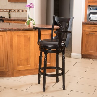 Christopher Knight Home Eclipse 31-inch Black Bonded Leather Armed Swivel Barstool