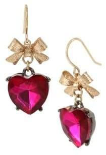 Betsey Johnson Bow Goldtone & Crystal Heart Drop Earrings
