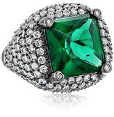 Kenneth Jay Lane CZ by Princess Cubic Zirconia Pave Shoulders Trend Ring, Size 8, 2 cttw