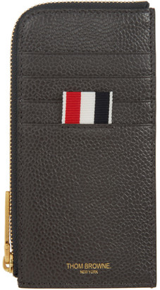 Thom Browne Grey 4-Bar Blind Emboss Half Zip Around Card Holder