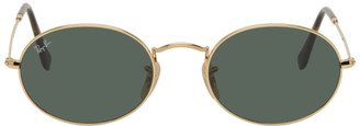 Ray-Ban Gold and Green Oval Sunglasses