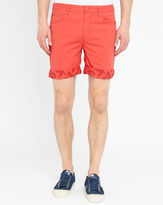 Eleven Paris Coral Risk Flowers Print Turn-Up Bermuda Shorts