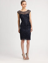 Kay Unger Sequined Peplum Dress