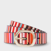 Paul Smith Women's 'Crossover Stripe' Print Calf Leather Belt