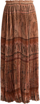 Valentino Landscape-print silk-chiffon midi skirt