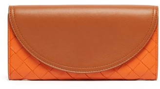 Bottega Veneta Intrecciato Continental Leather Wallet - Womens - Tan Multi