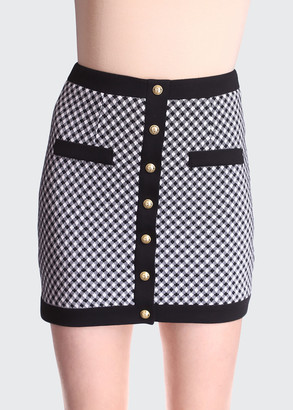 Balmain Gingham Button Mini Skirt