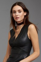 Dynamite Faux Leather Peplum Top