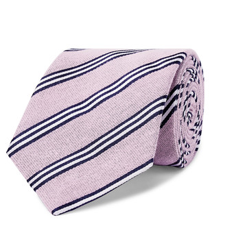 Turnbull & Asser 8.5cm Striped Cotton And Silk-Blend Tie