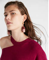 Express stone ombre triple tassel drop earrings