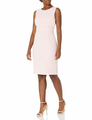 Kasper Women's Sleeveless Stretch Crepe Sheath Dress with Waistband Detail