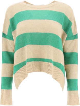 Marni OVERSIZED STRIPED SWEATER 38 Green, Beige Wool, Cashmere