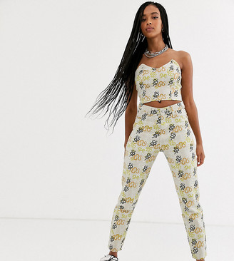 One Above Another high waist mom jeans in snake print denim two-piece-Cream