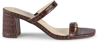 Saks Fifth Avenue Barrett Croc-Embossed Leather Block-Heel Sandals