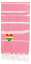 Linum Home Textiles Turkish Cotton Lucky Cheerful Rainbow Heart Pestemal Beach Towel