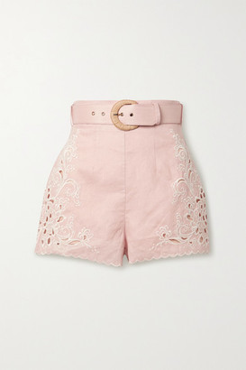 Zimmermann Freja Broderie Anglaise-trimmed Linen Shorts - Baby pink